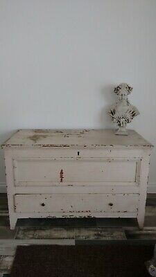 Stunning French Antique Painted Oak Coffer / Chest with drawer
