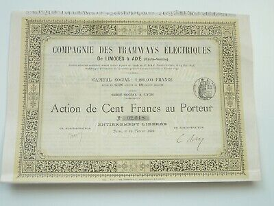 Ornate France 1899 Electric Tramways Share Certificate With Coupons