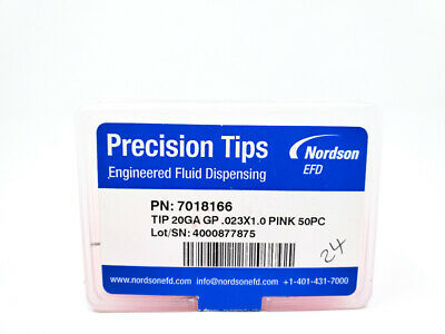Nordson EFD 7018116 Optimum Stainless Steel Tips 25.4 mm Pink NEW OEM