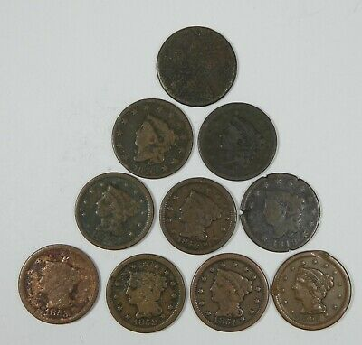 LOT x 10 Different Date LARGE Cents Cull or Better 1807 -  1854