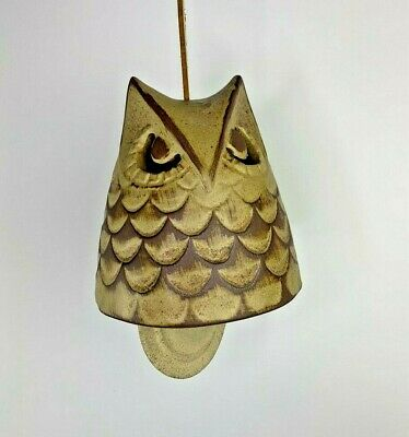 """Vintage Pottery Stoneware Owl Wind Chime 6"""" Bell Leather Cord USA"""