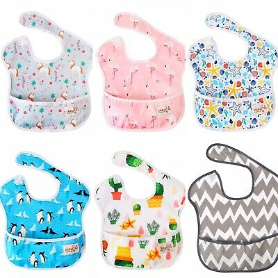 Waterproof baby bib food catcher weaning toddler girl boy messy play cover