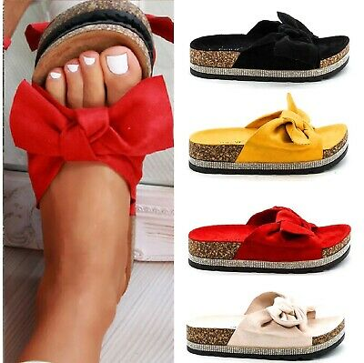 Ladies Womens Platform Diamante Bow Studded Slip On Wedge Sandals Shoes Size 3-8