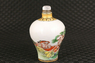 Rare chinese old porcelain hand painting art statue snuff bottle gift