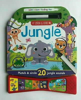 Jungle animal Sound Book Wipe Clean interactive sensory with pen Kids Age 2+