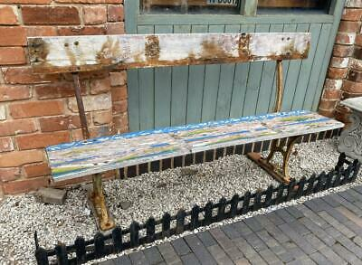 Vintage Garden Bench - Old Reclaimed Painted Wood - Cast Iron Legs