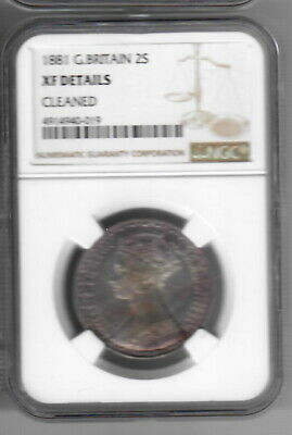 GREAT BRITAIN FLORIN 1881 NGC XF details