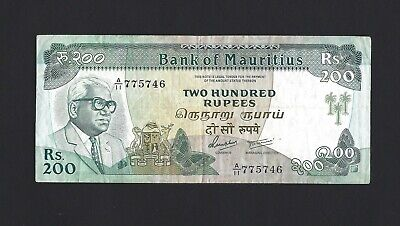 MAURITIUS 200 Rupees 1985, P-9b, Scarce Older Type, Circulated Grade, TDLR