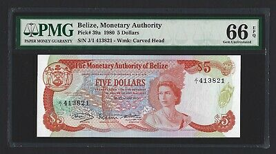 BELIZE $5 Dollars 1980, P-39a Monetary Authority J/1 Prefix, PMG 66 EPQ Gem UNC