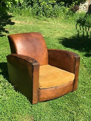 Antique French Art Deco leather club chair