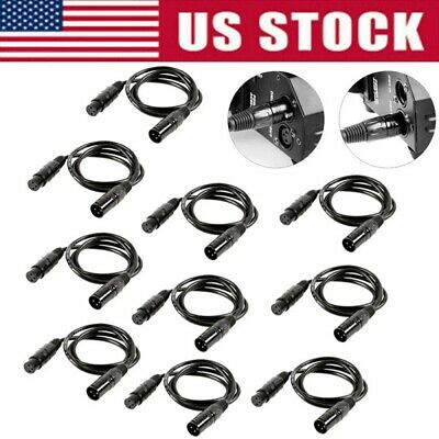 10Pc DMX Stage Par Light Cables Wires 3-Pin Signal XLR Male to Female Connection