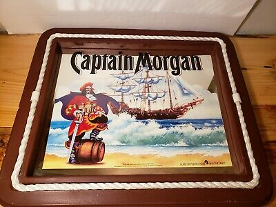 "Vintage 24 3/4"" X 21"" Pirate Captain Morgan Rum Bar Mirror Wall Sign   Rare"