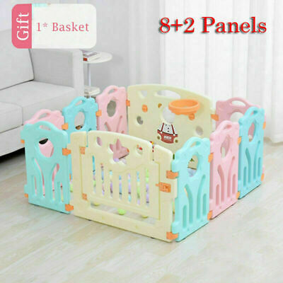 Playpen for Baby and Toddlers w/ Activity Panel & Door Play Yard (10Panel Multi)