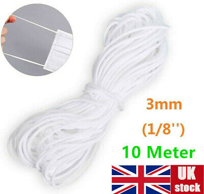 10m 3mm Elastic Thin Slim Band Trim Soft Round Cord Rope Stretch Knit DIY Sewing