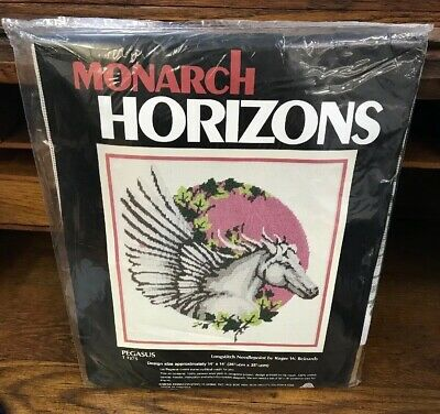 "NIP Roger Reinardy Pegasus T1375 Long Stitch 14"" X 14""Horse needlepoint kit"