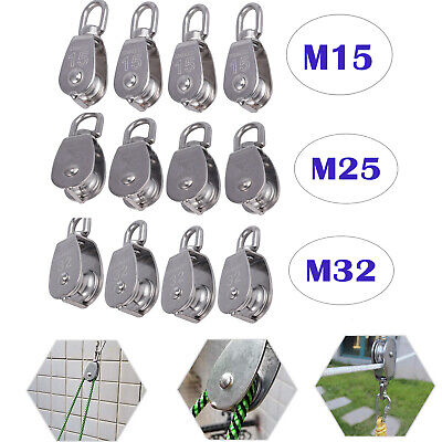 4x Swivel Single Wheel Pulley Block Rigging Lifting Rope Lifter Stainless Steel