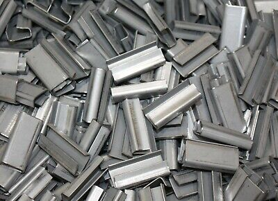 """(1000) Strapping Seal 2CXP3, 1/2"""" x 1/4"""" x 1-1/4"""", Open, Steel, for Shipping"""