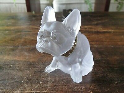 Victorian Czech Glass French BULLDOG Boston TERRIER Frosted Glass Figurine
