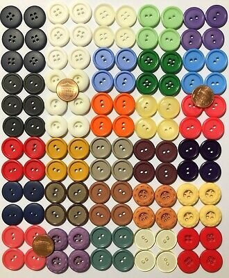 "Pack of 120 Plastic Buttons 19mm 3/4"" Penny Size 26 Colors Headband Face Mask"