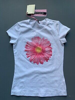Girl's White Designer T Shirt with Pink Sequin Floral Print by Monnalisa 11-12 y