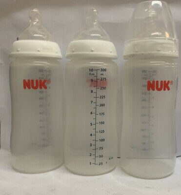 NUK Perfect Fit Baby Bottle, Blue, 10oz, 3 Count- USED