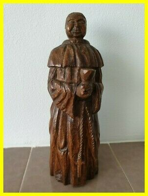 19Th Century Or Earlier  Carved Large Oak Monk, Well Crafted Detail & Patina