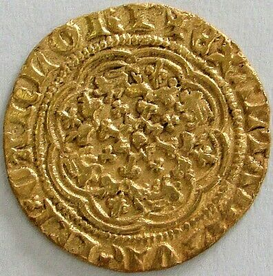 Nd (Ad 1361) Gold Great Britain Edward Iii 1/4 Noble Transitional Treaty Period