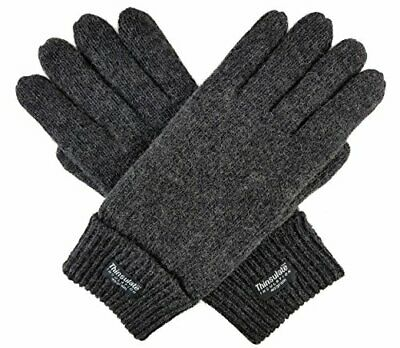 Bruceriver Men Pure Wool Knitted Gloves with Thinsulate Lining Size L/XL Anthra