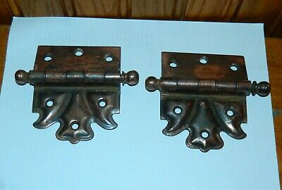 "2 Vintage Cannon Ball Off Set 3 1/2"" X 3 1/2"" Door Hinges"