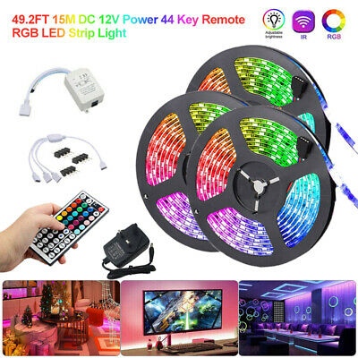 49.2ft 32.8ft RGB Waterproof 3528 LED Strip Light SMD 44Key Remote 12V Power Kit