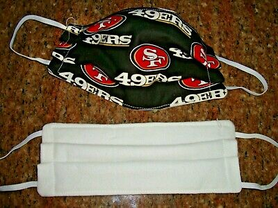 Triple layer 100% cotton washable face  mask  reversible SAN FRANCISCO 49'ERS