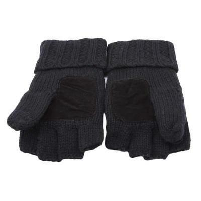 Fingerless Glove Winter Warm Half Finger Flip Knitted Mitten Gloves W