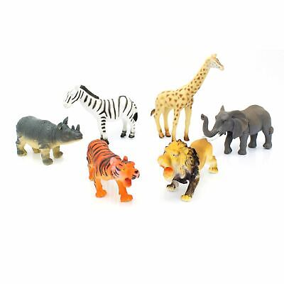 Children's Pack Of 6 Wild Jungle Plastic Figures Safari Toy Animals