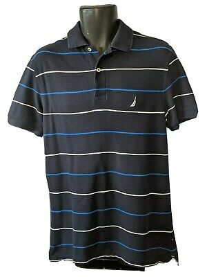 Nautica navy blue striped classic fit deck shirt Size Small