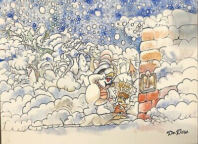 Original Frosty The Snowman Storyboard Concept Drawing Sketch Artwork Signed