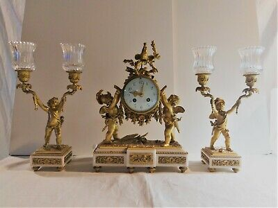"Antique 19th century French Figural marble & Gilt Bronze Clock set 14"" height"