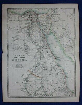 Original antique map EGYPT, ARABIA PETRAEA & LOWER NUBIA, T.B. Johnston, 1896
