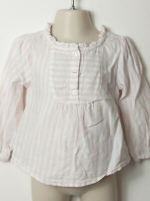 Girls Baby Gap Pink & White Frill Collar Long Sleeve T-Shirt Top Age 2 Years