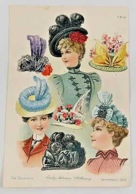 """1898 Paper Ad Womens Hats """"Early Autumn Millinery"""" Victorian Fashion 6523F"""