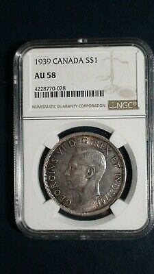 1939 Canada Silver Dollar NGC AU58 BETTER $1 COIN Auction Starts At 99 Cents!