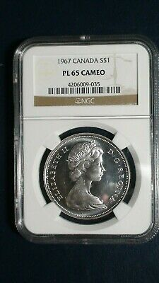 1967 Canada Silver Dollar NGC PL65 CAMEO $1 COIN Auction Starts At 99 Cents!