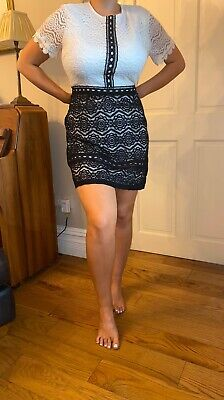 Pretty Little Thing Black And White Lace Formal Dress Size 14 Summer Tea Dress