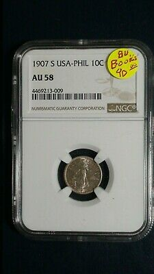 1907 S USA Philippines Ten Centavos NGC AU58 10C Coin Starts At 99 Cents!