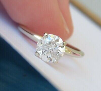 14K 1 Ct Round Brilliant Cut 1 Carat Natural Diamond Solitaire Engagement Ring