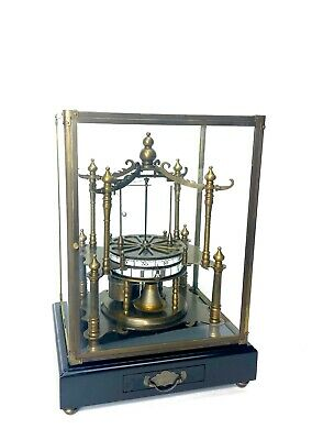 French Style Fusee Flying Ball Pendulum Pavilion Form Brass Skeleton Clock