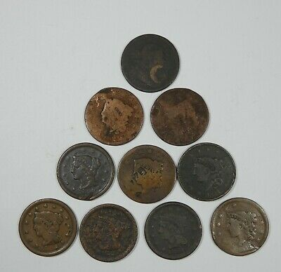 LOT x 10 Different Date LARGE Cents Cull or Better 1803 -  1854