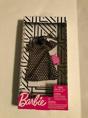 Barbie Doll Complete Look Fashion Pack Black Dress W/ Pink Hearts & Accessories