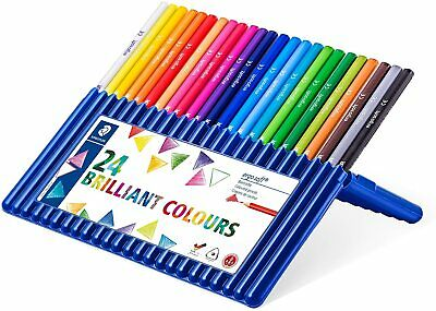 Staedtler Ergosoft Colored Pencils, Set 24 Colors In Stand-up Easel Case Wood