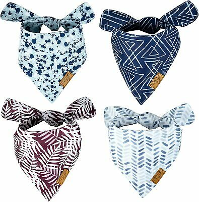 Remy+Roo Dog Bandanas - 4 Pack Premium Durable Fabric Unique Shape Adjustable