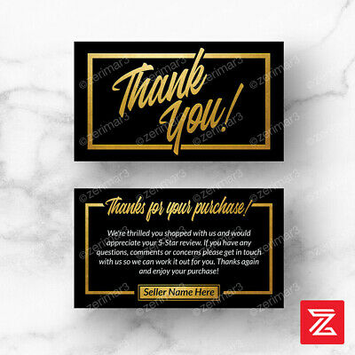 500 Thank You For Your Purchase Seller Business Cards 16pt UV Gloss or Matte